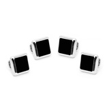 Silver and Onyx JFK Presidential Studs Novelty