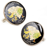 Hand Painted South Carolina State Quarter Cufflinks Novelty