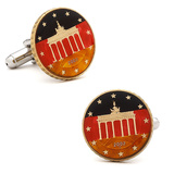 Hand Painted German 10 Cent Coin Cufflinks Novelty