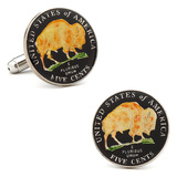 Hand Painted USA Buffalo Nickel Cufflinks Novelty