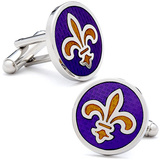 Purple Fleur de Lis Cufflinks Novelty