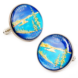 Hand Painted Oregon State Quarter Cufflinks Novelty