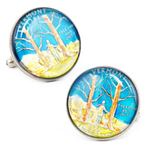 Hand Painted Vermont State Quarter Cufflinks Novelty