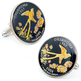 Hand Painted Oklahoma State Quarter Cufflinks Novelty