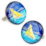 Hand Painted Rhode Island State Quarter Cufflinks Novelty