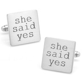 Wedding Series She Said Yes Cufflinks Novelty