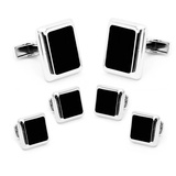 Silver and Onyx JFK Presidential Stud Set Novelty