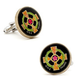 Hand Painted Irish Cross Coin Cufflinks Novelty