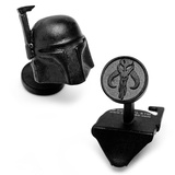 Star Wars Matte Black 3-D Boba Fett Helmet Cufflinks Novelty