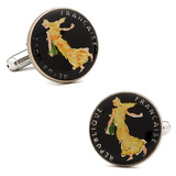 Hand Painted French 5 Cent Coin Cufflinks Novelty