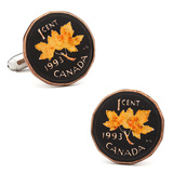 Hand Painted Canadian Penny (one cent coin) Cufflinks Novelty