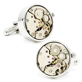 Steampunk Silver Watch Movement Cufflinks Novelty
