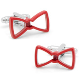 Cool Cut Red Bowtie Cufflinks Novelty