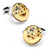 Stainless Steel Gold Kinetic Watch Movement Cufflinks Novelty