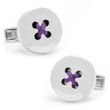 Sterling Silver Button Cufflinks with Purple Thread Novelty