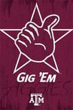 Texas A&M University Gig 'Em Logo NCAA Plakater