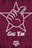 Texas A&M University Gig 'Em Logo NCAA Posters