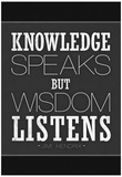 Knowledge Speaks But Wisdom Listens Posters