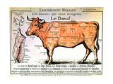 Nötkött: Diagram som visar olika styckningsdelar, franska Konst på metall