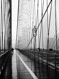Brooklyn Bridge on Rainy Day Metal Print by Rachel Royse
