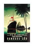 Hamburg to Rio de Janeiro on the Cap Arcona Steamship Metal Print