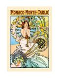 Monaco, Monte Carlo Kunst auf Metall von Alphonse Mucha