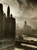 View of Chicago Sky and Skyscrapers Metal Print