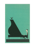 Cartoon pianist Metal Print