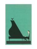 Cartoon pianist Metal Print