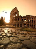 Colosseum and Via Sacra, Sunrise, Rome, Italy Metal Print by Michele Falzone