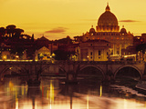 St Peter's Basilica and Ponte Saint Angelo, Rome, Italy Metal Print by Doug Pearson