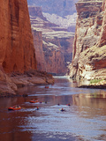 Arizona, Grand Canyon, Kayaks and Rafts on the Colorado River Pass Through the Inner Canyon, USA Metal Print by John Warburton-lee