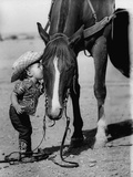 Jean Anne Evans, 14 Month Old Texas Girl Kissing Her Horse Metal Print by Allan Grant