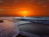 Two Crossing Waves at Sunrise in Miramar, Argentina Metal Print by  Stocktrek Images