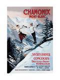 Chamonix - Mont-Blanc Reproduction sur métal par Francisco Tamagno