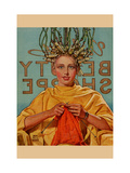 Woman In Curlers Knits Metal Print