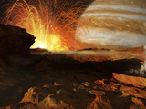 A Scene on Jupiter's Moon, Io, the Most Volcanic Body in the Solar System Metal Print by  Stocktrek Images