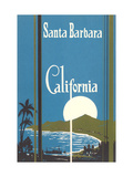 Art Deco Poster, Santa Barbara, California Metal Print