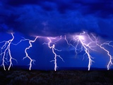 Lightning Storm over Prairie Metal Print by Aaron Horowitz