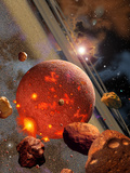 The Primordial Earth Being Formed by Asteroid-Like Bodies Alu-Dibond von  Stocktrek Images
