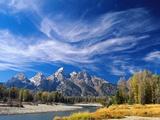 Cirrus Clouds over Teton Range and Snake River Kunst auf Metall