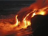 Kilauea Lava Flow Sea Entry, Big Island, Hawaii Metalltrykk