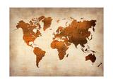 World  Map 7 Reproduction sur métal par  NaxArt