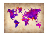 World Watercolor Map 5 Metal Print by  NaxArt