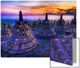 The sunrise as the caged Buddhas look on Metal Print by Trey Ratcliff