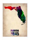 Florida Watercolor Map Metal Print by  NaxArt