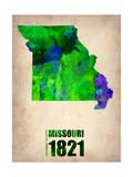 Missouri Watercolor Map Metal Print by  NaxArt