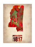 Mississippi Watercolor Map Kunst auf Metall von  NaxArt