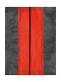 Grey and Red Abstract 5 Metalldrucke von  NaxArt