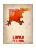Denver Watercolor Map Metal Print by  NaxArt